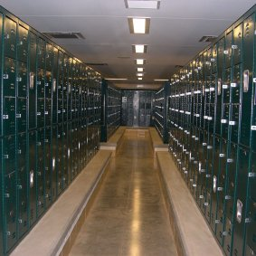 blue corridor and green athletic lockers